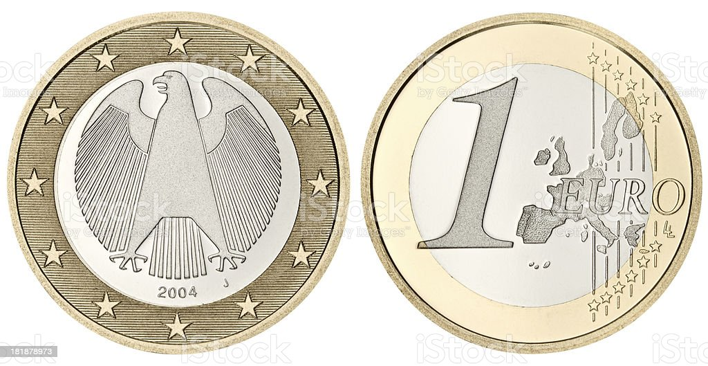 Proof Euro Coin with clipping path on white background stock photo
