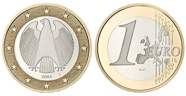 Proof Euro Coin with clipping path on white background Proof grade One Euro Coin in excellent condition. Isolated on white with clipping path. european union coin stock pictures, royalty-free photos & images