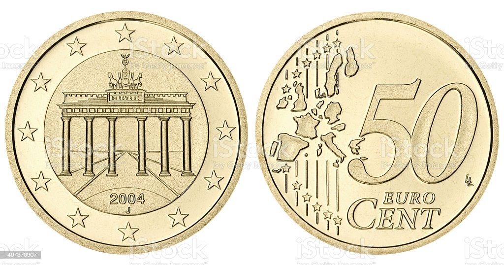 Proof fifty euro cents coin on white background stock photo