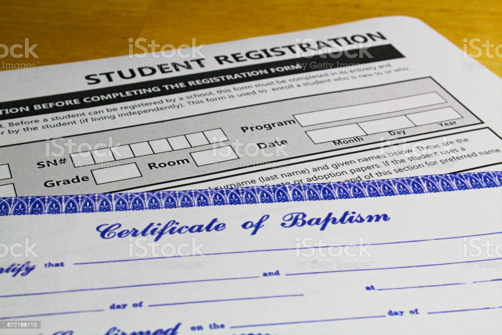 Proof of faith required when registering students stock photo