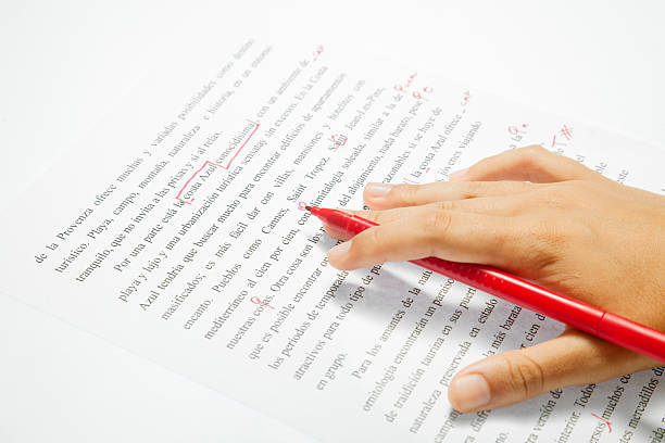 Proofreading an spanish text stock photo