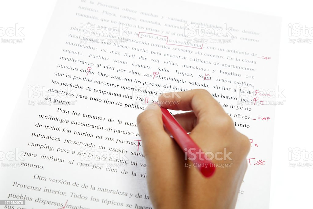 Proofreading services, Spanish text stock photo