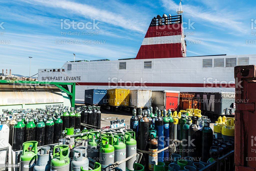 Propane bottles and containers in the port - Royalty-free Barcelona - Spain Stock Photo