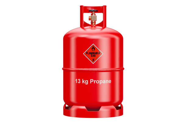 Propane cylinder with compressed gas, 3D rendering isolated on white background stock photo