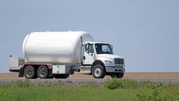 Propane Delivery Truck On Highway stock photo