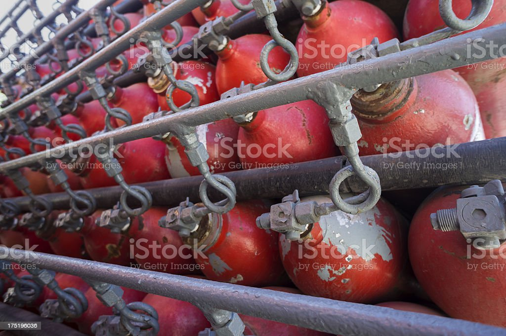 Propane gas cylinders stacked on a truck stock photo