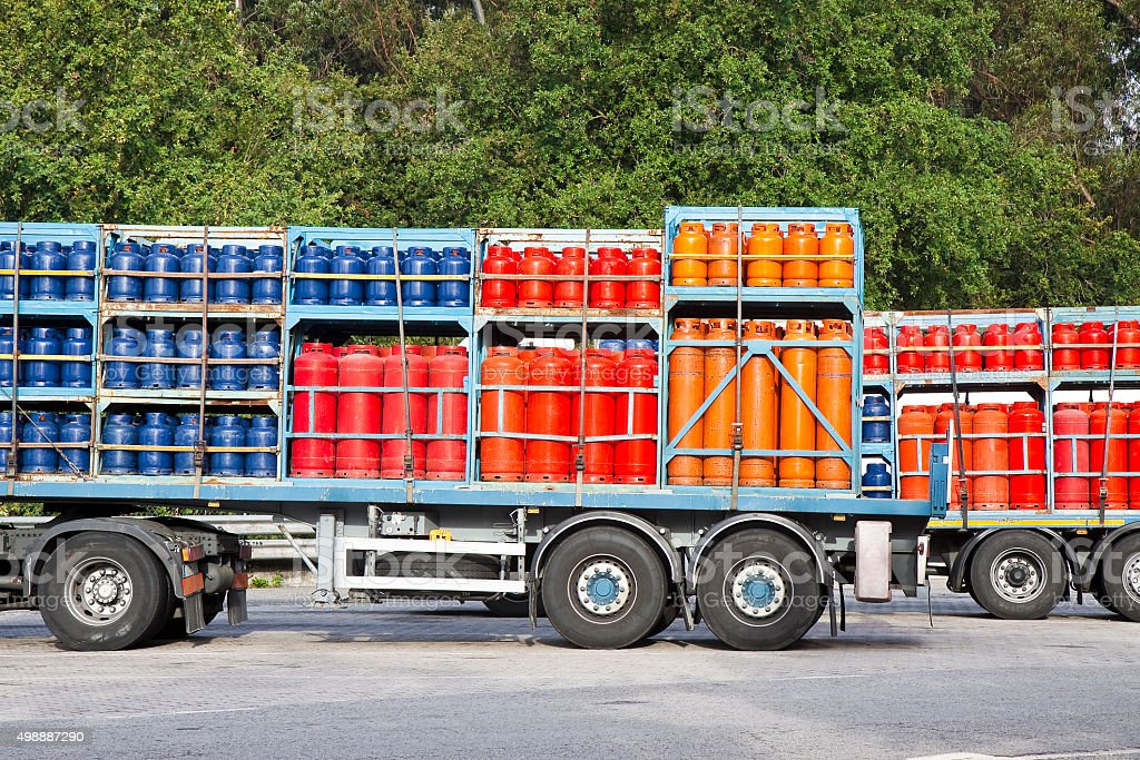 Propane gas tanks stock photo