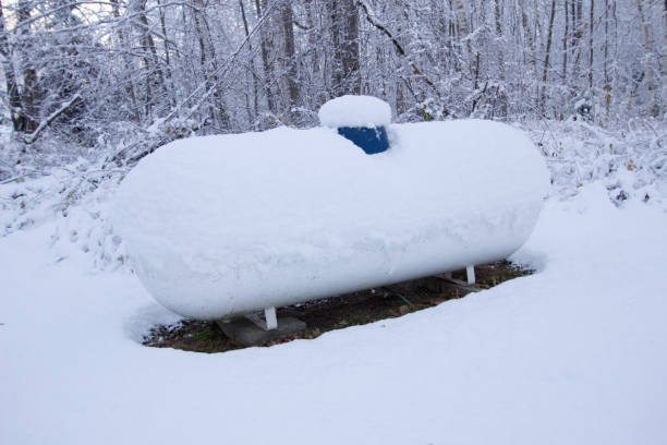 Propane Tank On A Cold Winter Day stock photo