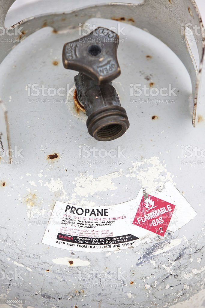 Propane Tank Warning Sticker and Valve stock photo