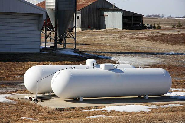 Propane Tanks Offer Comfort in an Iowa Winter stock photo