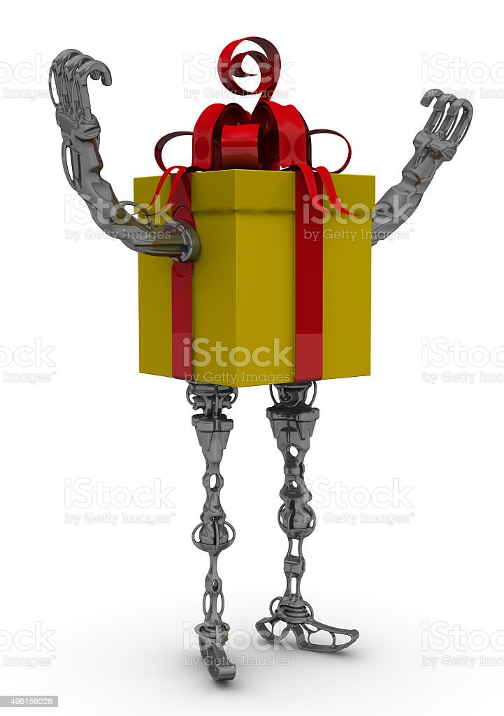 Propelled gift box. Hands raised up stock photo