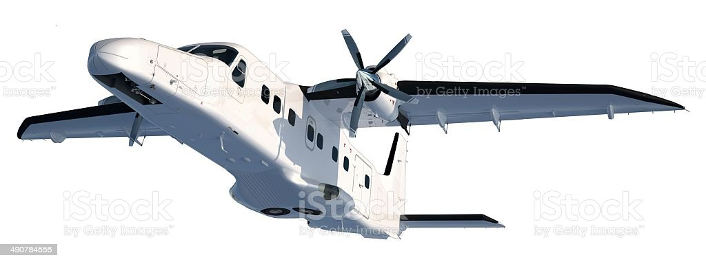 Propeller aircraft after take-off from fwd left below stock photo