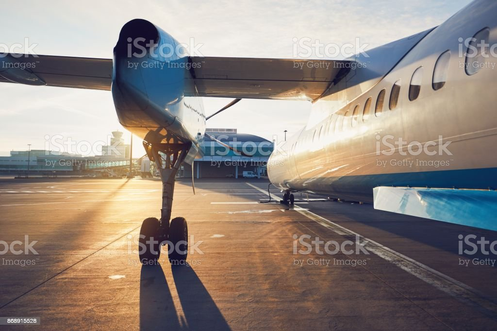 Propeller airplane before take off stock photo