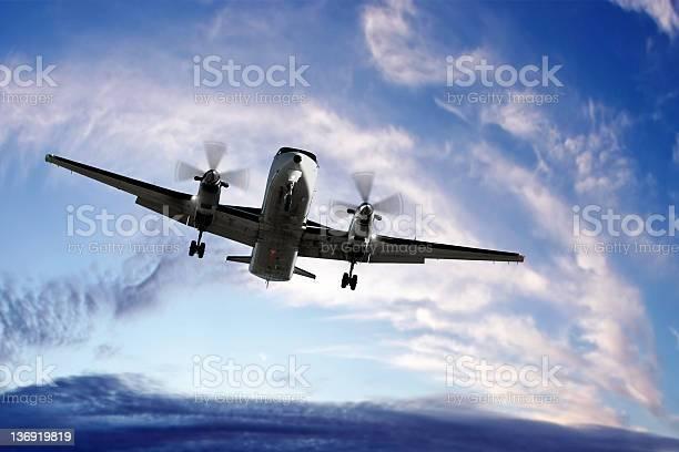 Photo of XL propeller airplane landing at sunset