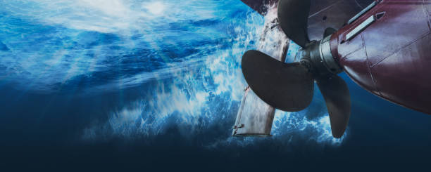 propeller and rudder of big ship underway view from underwater. close up image detail of ship. transportation industry. ship repair, underwater survey and shipping business concept. - hull stock pictures, royalty-free photos & images