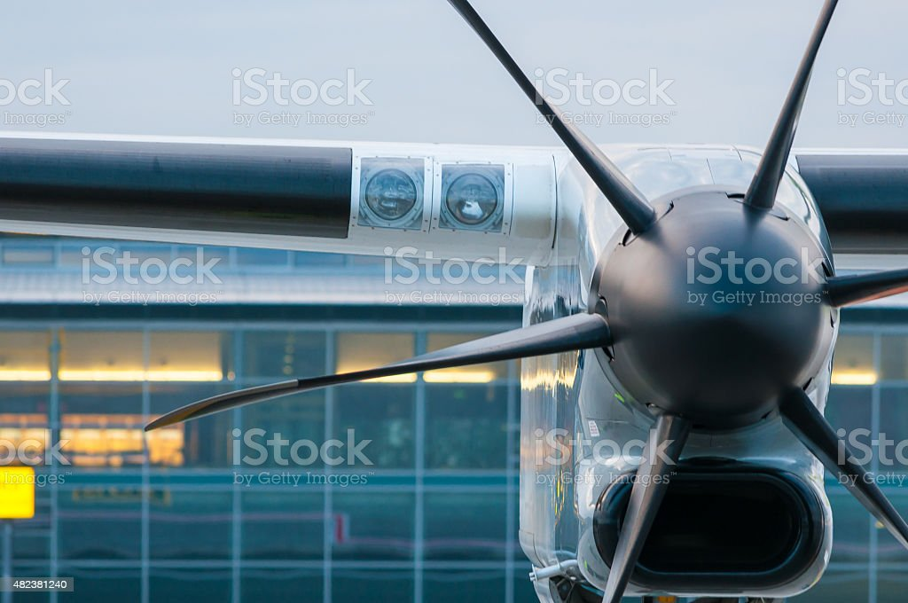 Propeller Engine of the airplane at airport stock photo
