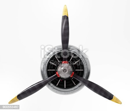 Propeller engine of vintage airplane isolated on white.