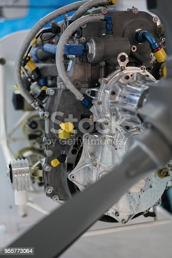 536680742 istock photo Propeller engine of vintage airplane 955773064
