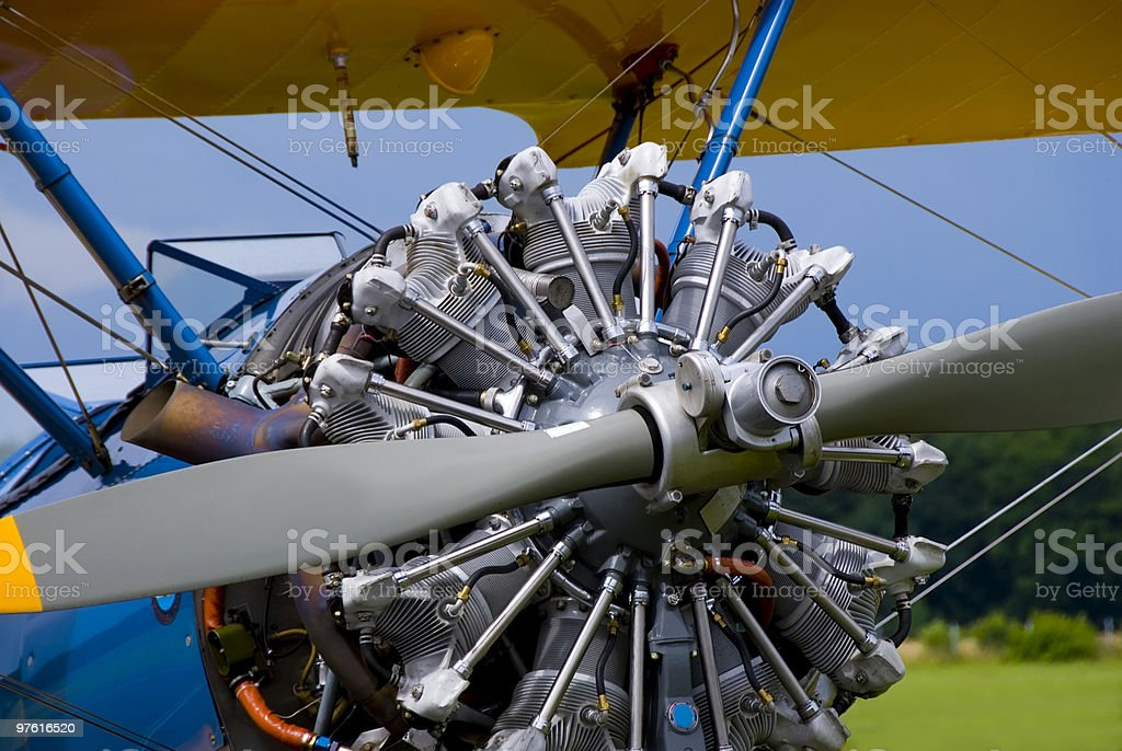 Propeller of an old, historical single-engine biplane 02 royalty-free stock photo