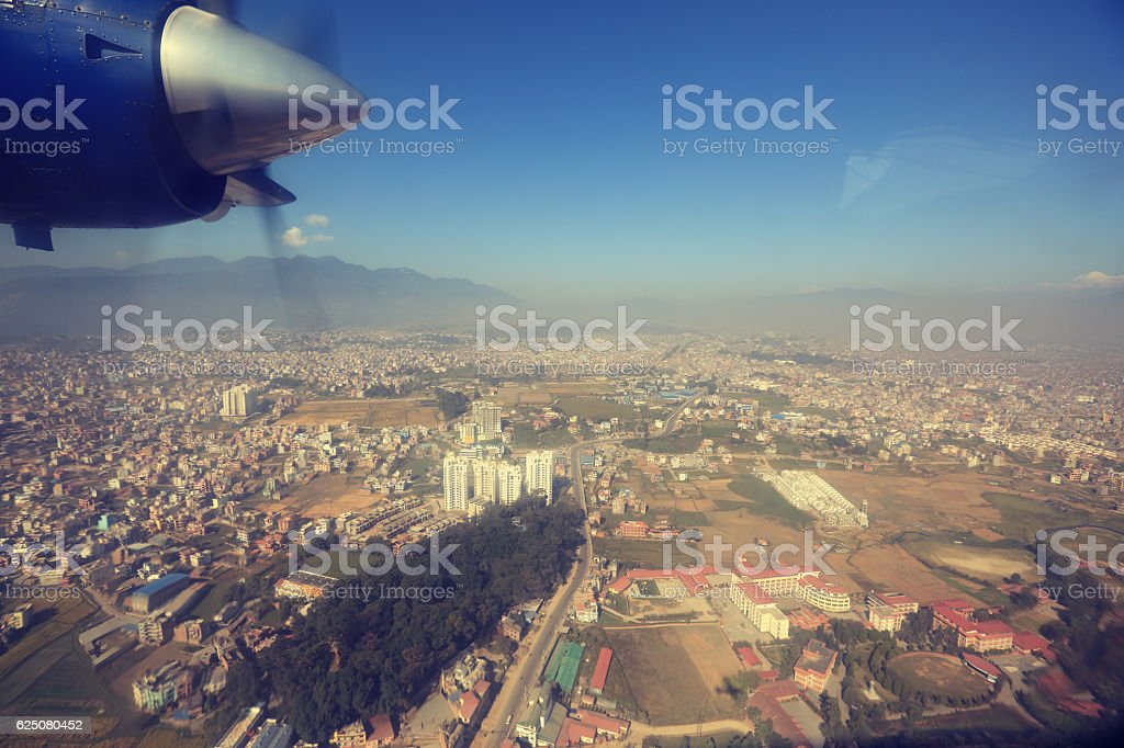 Propeller plane in air above kathmandu,nepal stock photo
