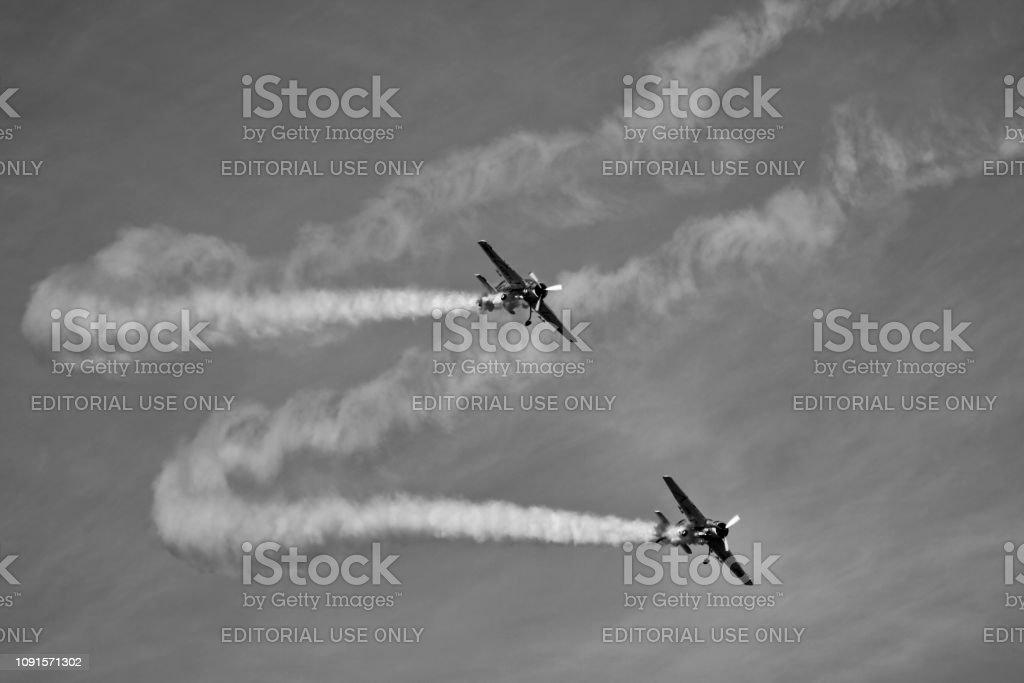 Propeller Plane Practicing Stunts In Morning Stock Photo