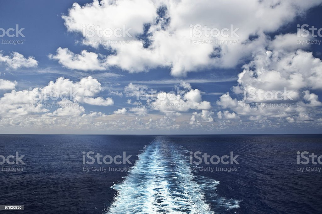 Propeller Wake on the Wide-Open Blue Sea royalty-free stock photo