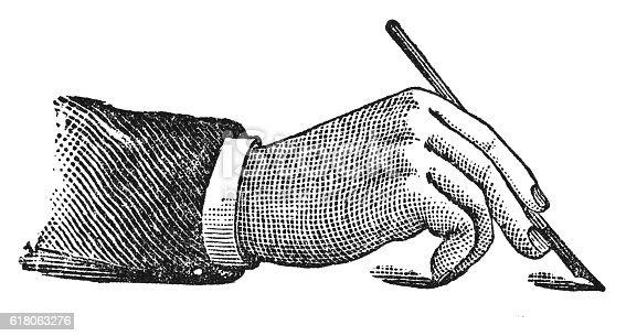 istock Proper mode of holding the pen (antique engraving) 618063276