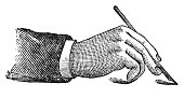Proper mode of holding the pen (antique engraving)