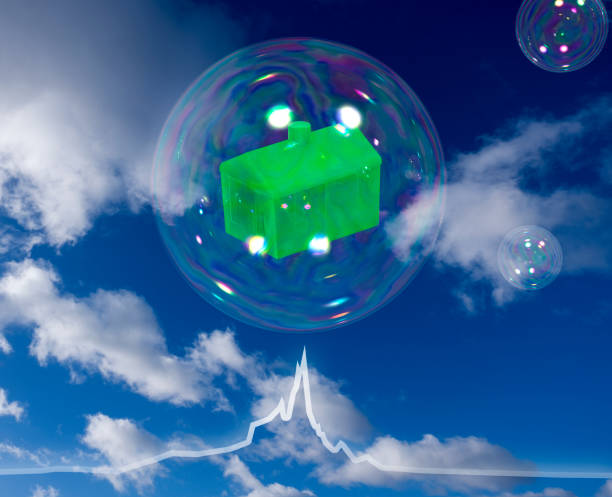 Property bubble about to burst from downturn economy graph stock photo