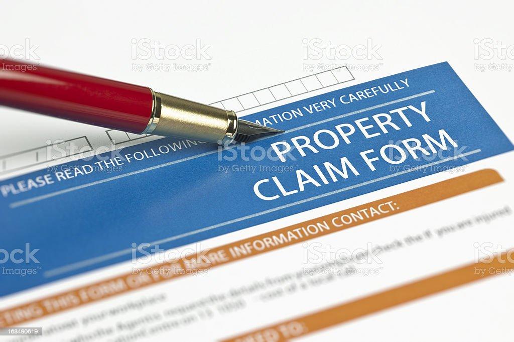Property Claim Form stock photo