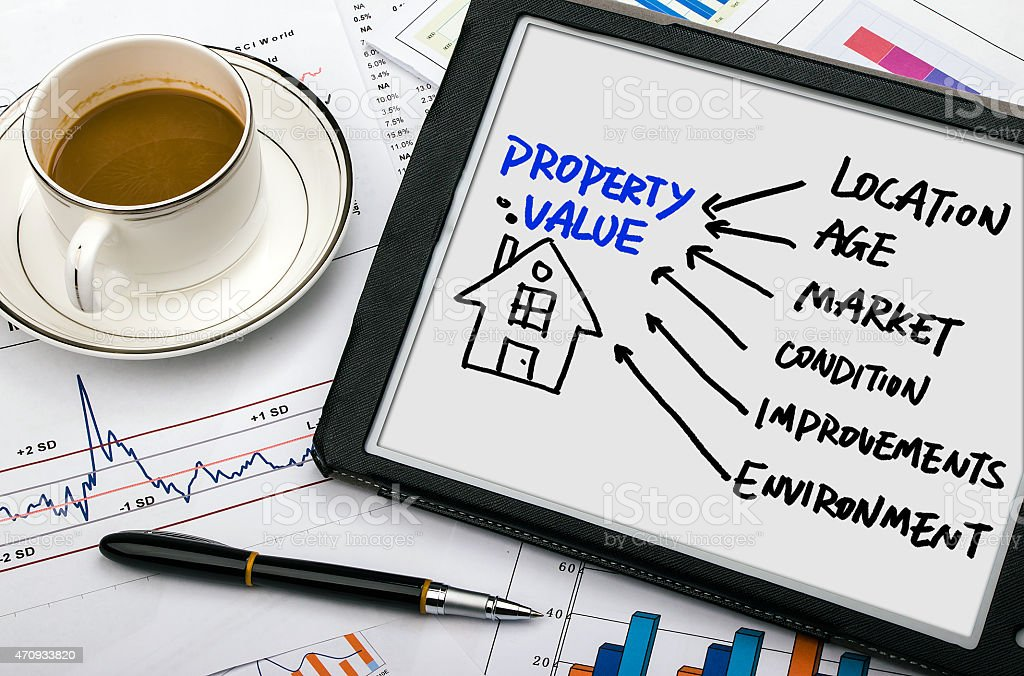 property concept hand drawing on tablet pc stock photo