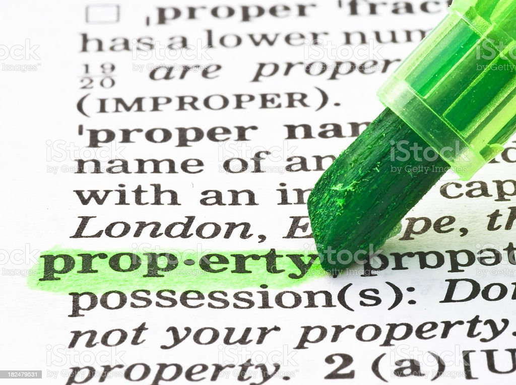 property definition highlighted green dictionary royalty-free stock photo