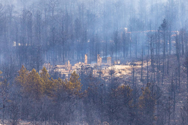 Property destroyed in the Cal Wood Fire stock photo