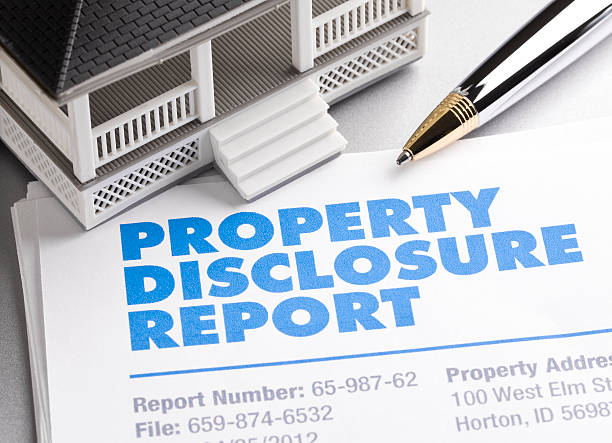 property disclosure report - real estate law stock photos and pictures