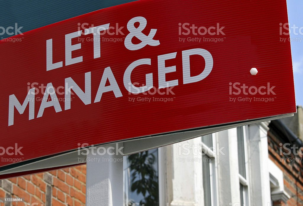 Property Let and Managed Board royalty-free stock photo
