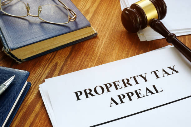 Property Tax Appeal documents and wooden gavel. stock photo
