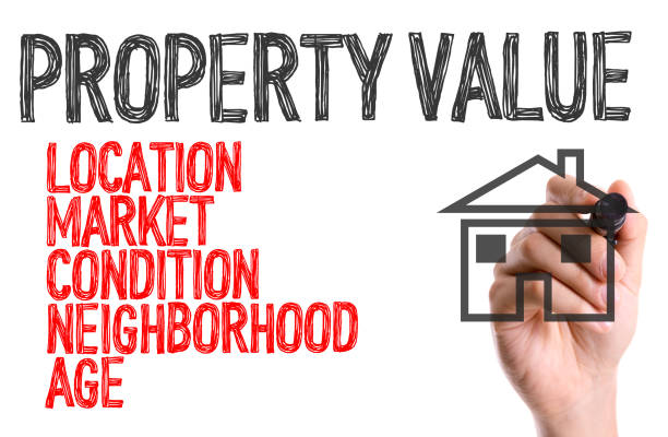 Property Value sign Hand with marker writing: Property Value real estate sign stock pictures, royalty-free photos & images