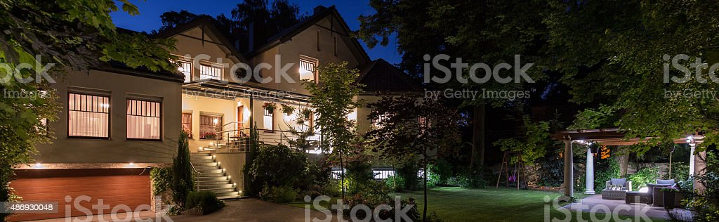 Property with patio stock photo