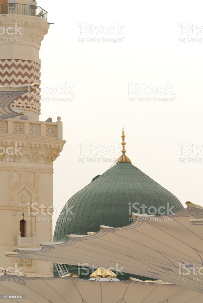 Prophet's Mosque in Medina Saudi Arabia stock photo