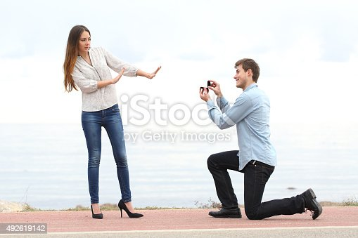 istock Proposal rejection when man asks in marriage to a woman 492619142