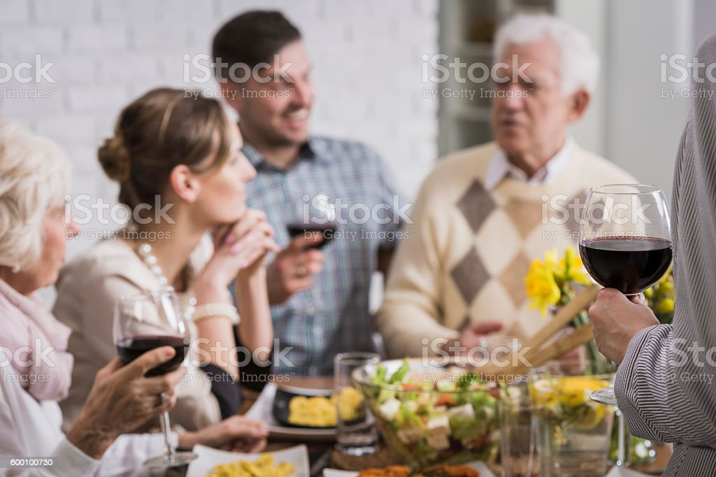 I propose a toast for our family... stock photo