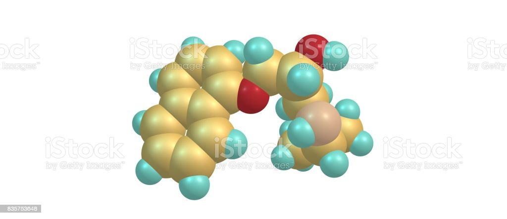 Propranolol molecular structure isolated on white stock photo