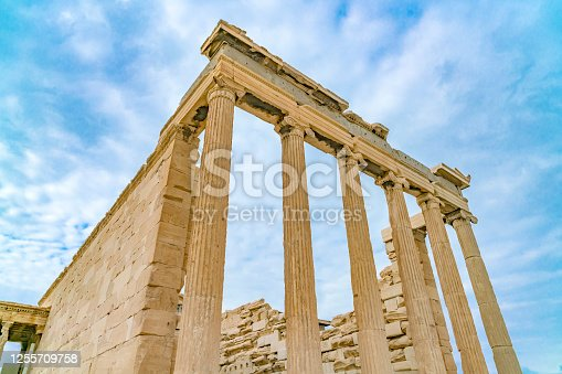 Propylaea temple at the entrance to the Ancient Acropolis in Athens, Greece