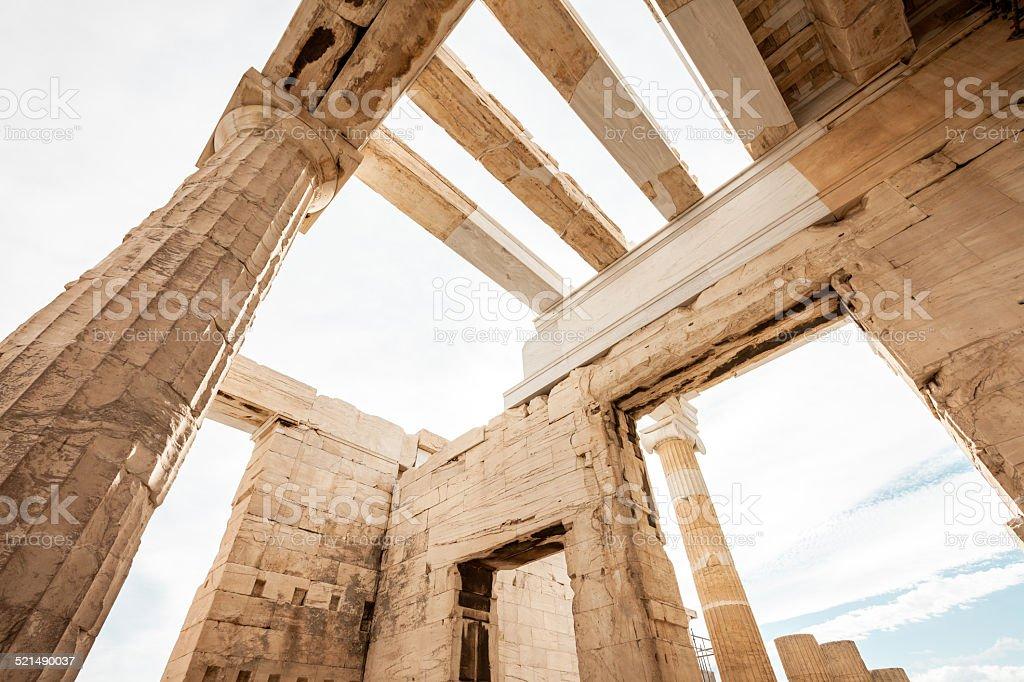 Propylaia in the Acropolis stock photo