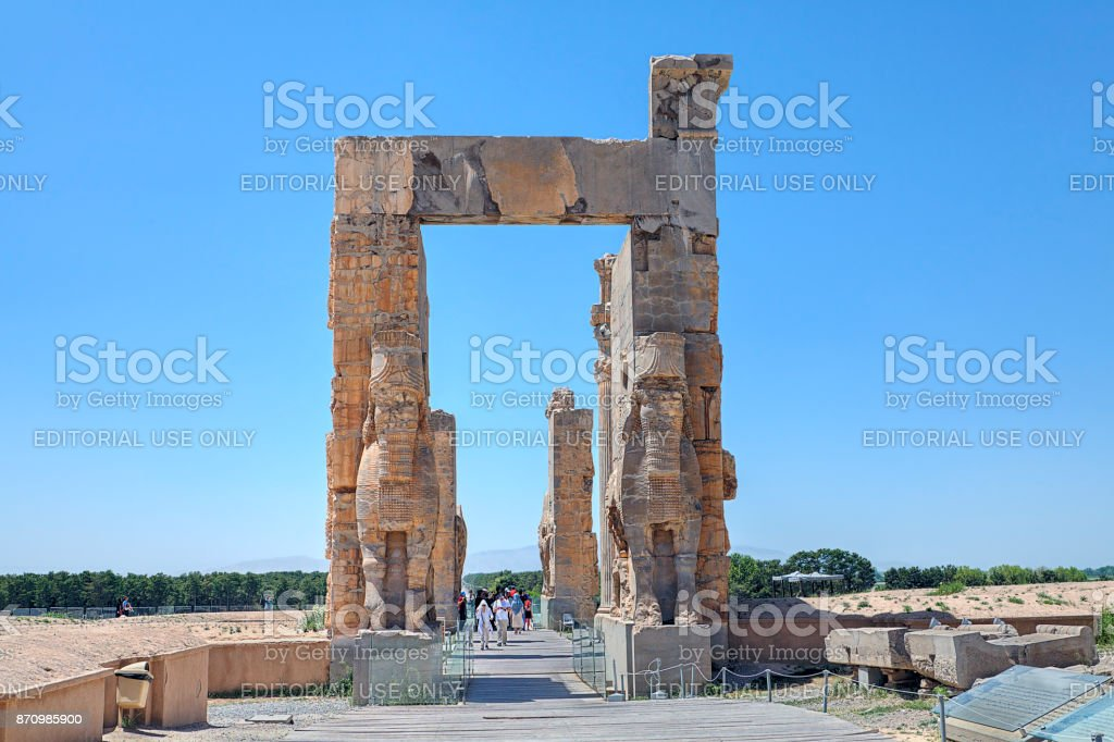 Propylon, Gate of all Nations, Achaemenid archaeological site of Persepolis. stock photo