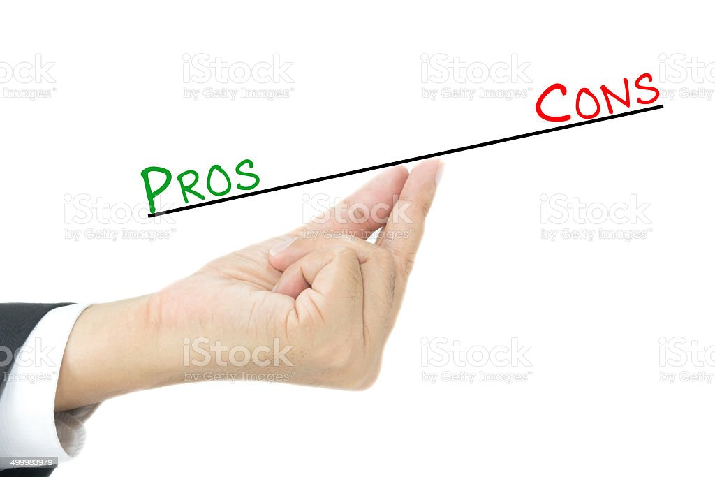 Pros and cons comparison stock photo