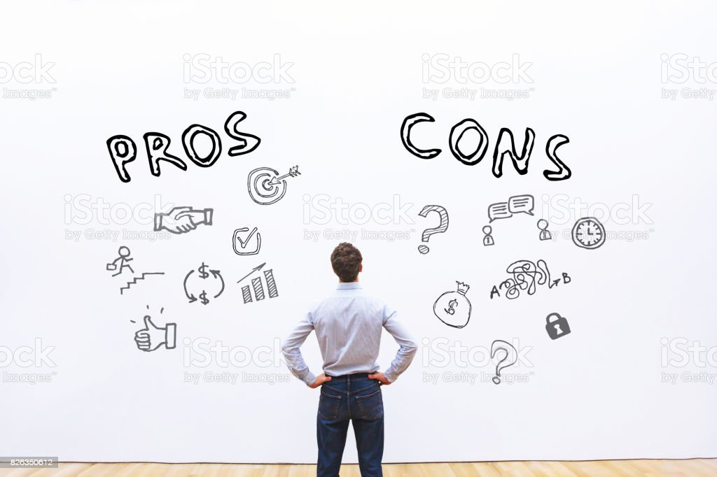 pros and cons concept stock photo