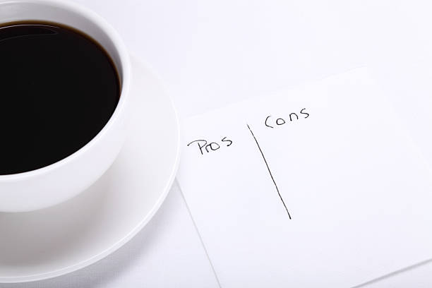 Pros and Cons on a Napkin stock photo