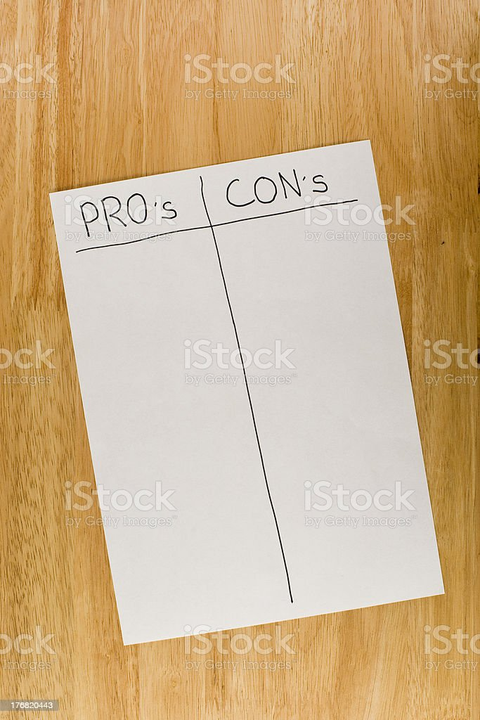 Pros and Cons royalty-free stock photo