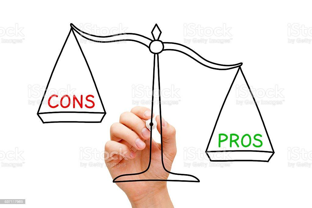 Pros Cons Scale Concept stock photo